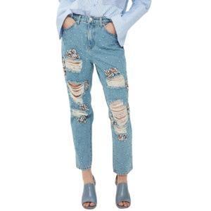 TopShop Mom Jeans Embellished Limited Edition 28
